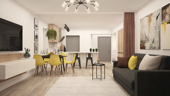 Apartment with seating and space.