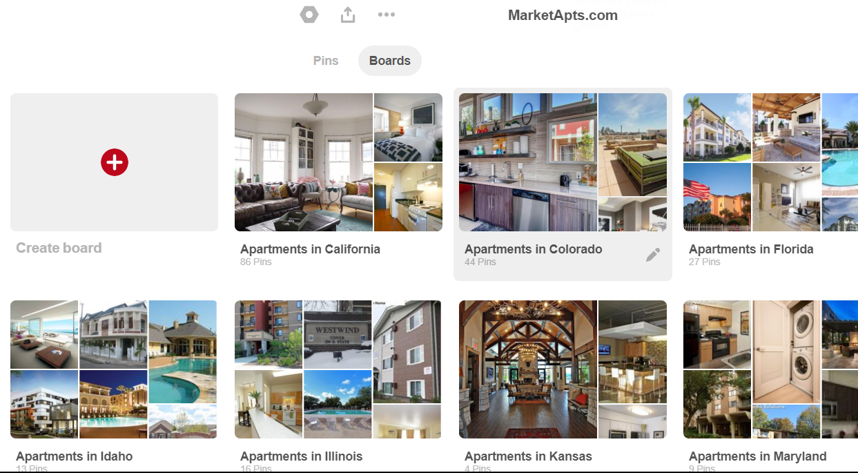 Create community boards on Pinterest for apartment marketing