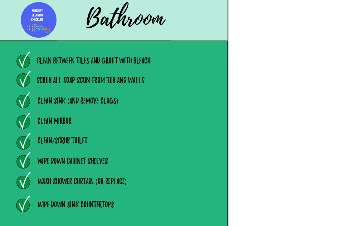 Bathroom Apartment Cleaning Checklist For Residents And Property Managers