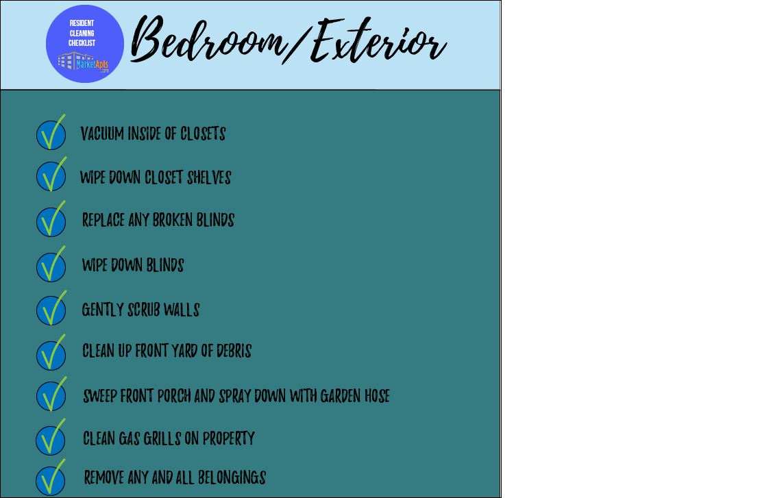 Apartment Bedroom Cleaning Checklist For Move Out