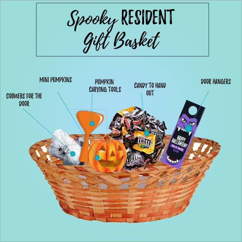 Halloween Spooky Basket.Halloween Resident Gift Basket Market Apartments 2017oct25