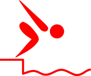 Person jumping in water.