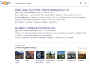 A screenshot of related search results on Google.
