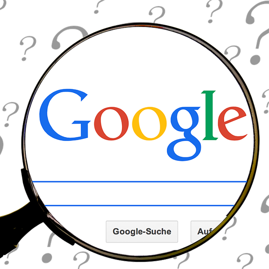 Google search bar and magnifying glass.
