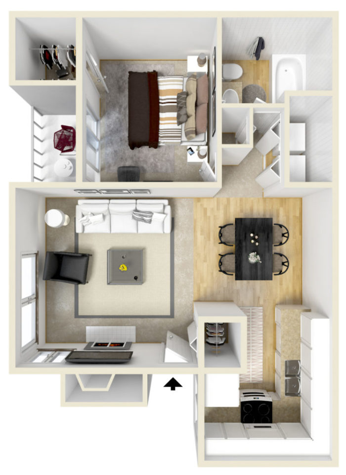 3D rendering of an apartment