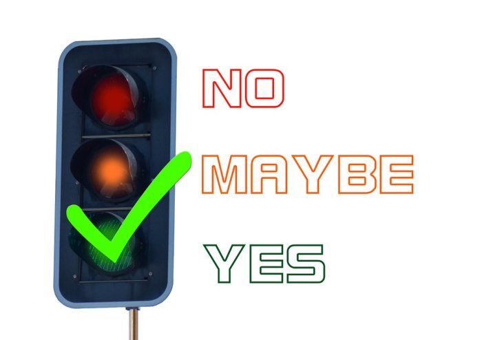 A stop light with the green light checked for yes.