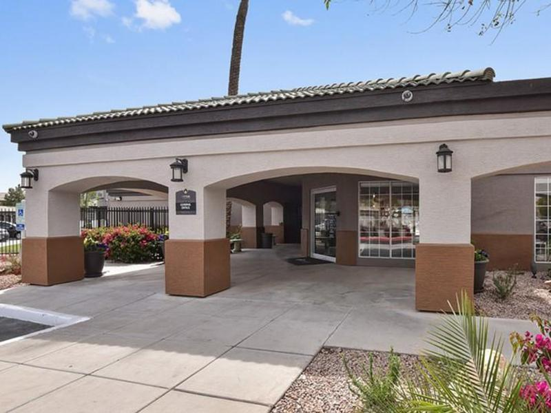 Clubhouse Exterior | Luxe at Ocotillo Apartments in Chandler, AZ