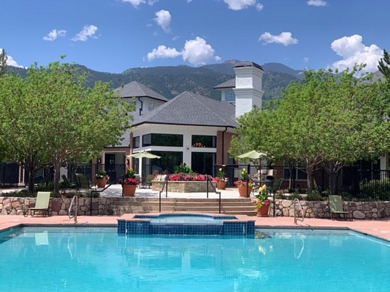Clubhouse Exterior | The Retreat at Cheyenne Mountain Apartments in Colorado Springs CO