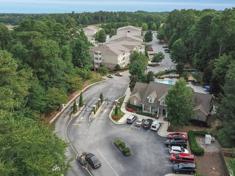 Aerial view of the apartment community around Retreat at Stonecrest in Lithonia, GA.