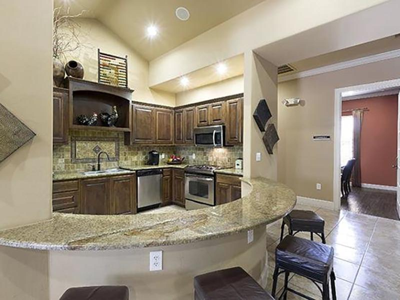 Clubhouse Kitchen - The Falls Apartments - TX