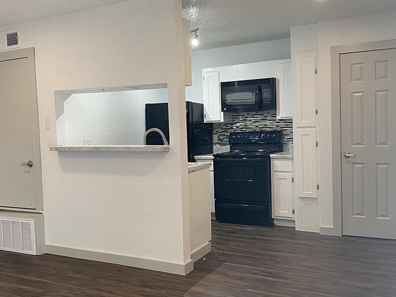 Kitchen and Living Room | SkyVue Apartments in San Antonio, TX