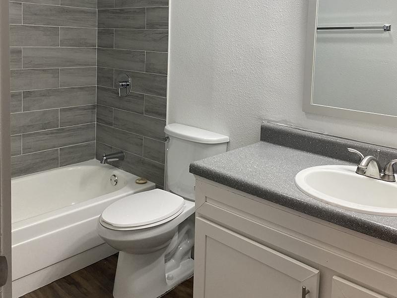 Bathroom 1 | SkyVue Apartments in San Antonio, TX