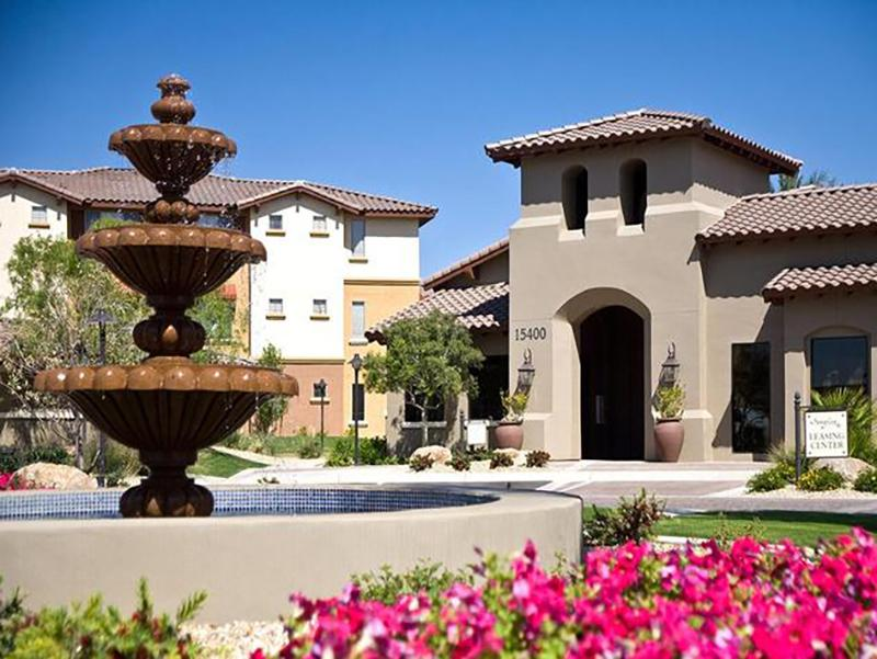 Leasing Center With Fountain | Serafina Apartment Homes
