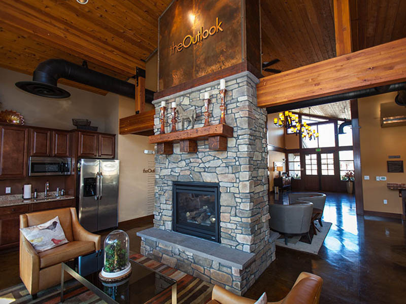 Clubhouse Fireplace | The Outlook Apartments in Graham, WA