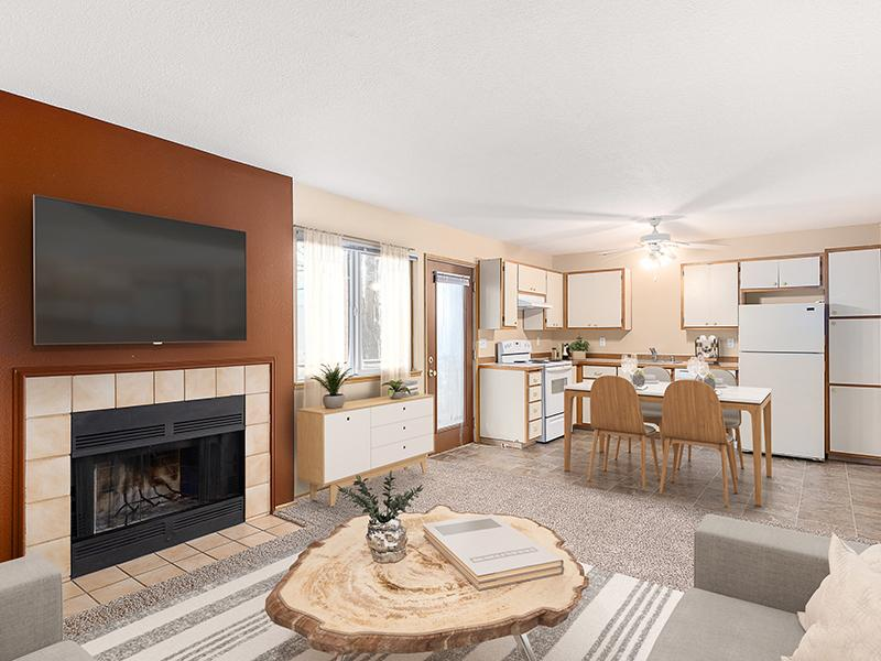 Living Room with a Fireplace | Veri Vancouver Apartments in Vancouver, WA