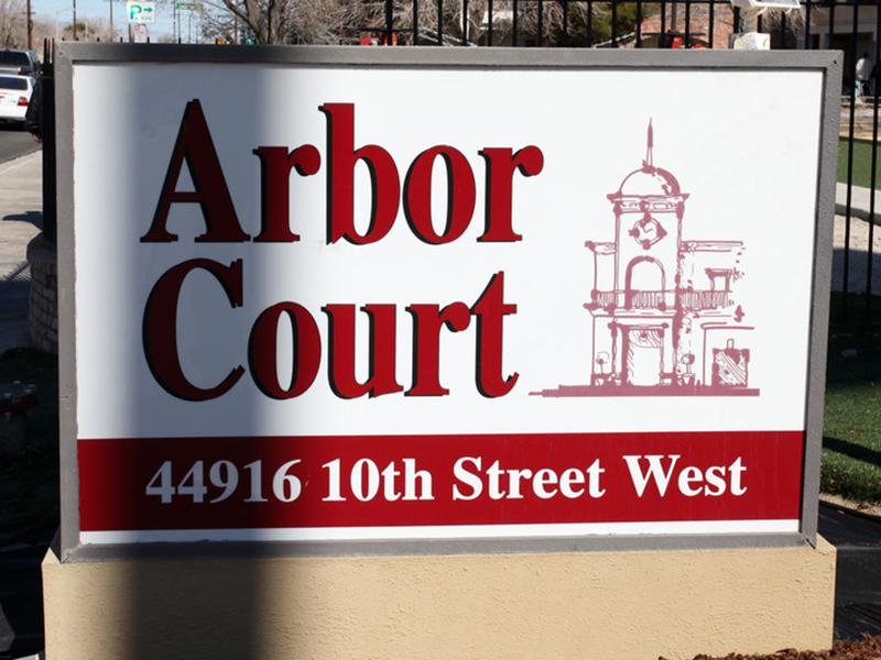 Welcome Sign | Arbor Court in Lancaster, CA