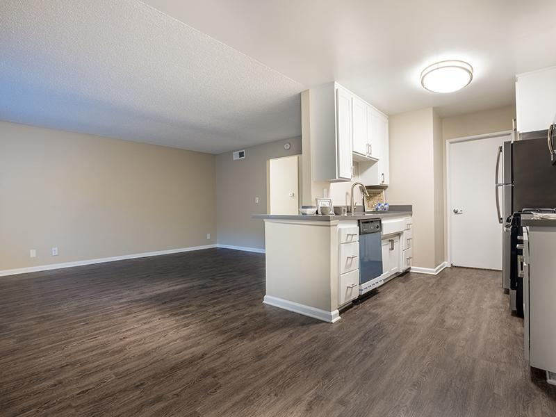 Living Room & Kitchen | The Villas at Anaheim Apartments