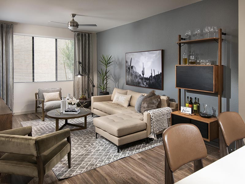 1 Bedroom Living Room | Parc at South Mountain