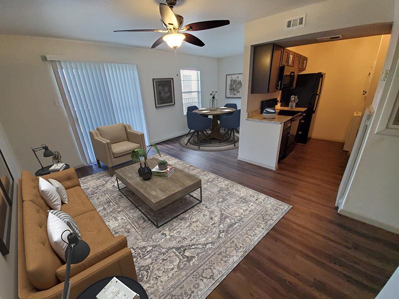 Living Room- Staged | San Antonio Station Apartments