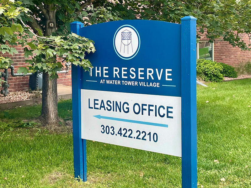 Sign | The Reserve at Water Tower Village Apartments in Arvada, CO