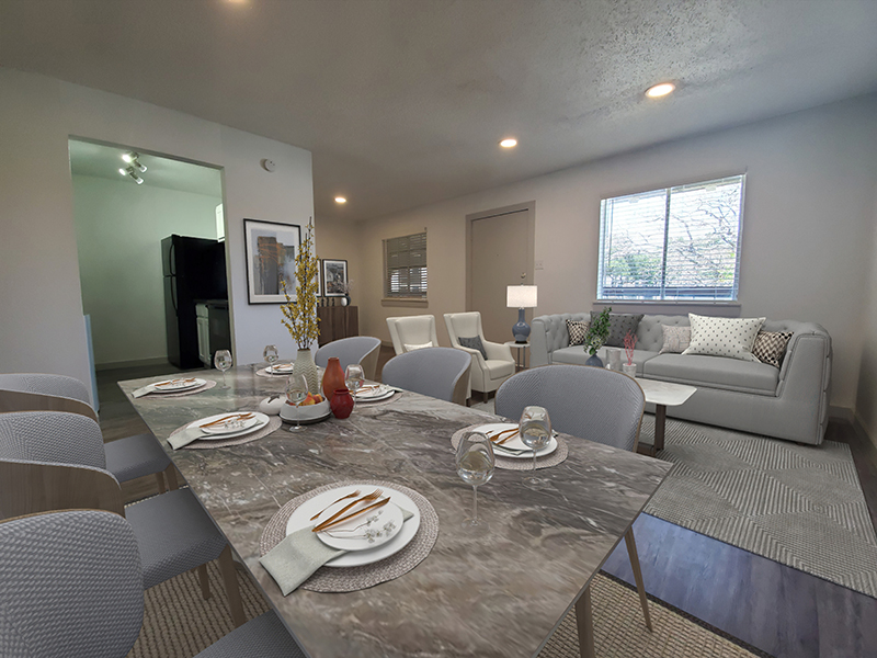 Dining Room - Staged   SkyVue Station Apartments in San Antonio, TX