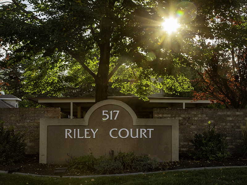 Welcome Sign | Riley Court Senior Apartments in Bountiful, UT