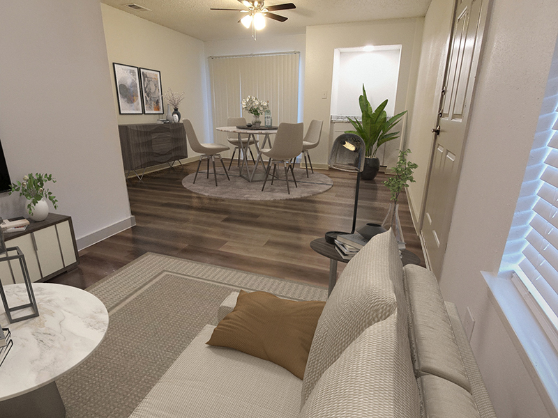 Living Room - Staged   Retreat at Hart Ranch Apartments in San Antonio, TX